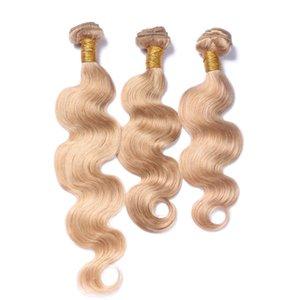 #27 Мед Блондинка Волна Тела Человека Девственные Волосы Плетет Бразильский 3 Пучка Волос Для Черных Женщин Косплей Волос Чистый Цвет Утка