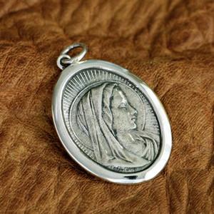 LINSION 925 Ayar Gümüş Meryem Madonna Charms Kolye TA96 JP