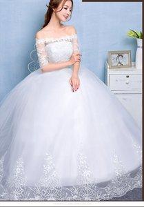 Quality Boat Neck Half Sleeves Wedding Dresses White Princess Bride Ball Gowns Real Photo Vestidos De Novia