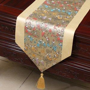 Extralange Chinese Joyous Klassische Damast-Tabellen-Läufer für Hochzeit Weihnachtsdekoration Table Mat Damast-Tischdecke rechteckig 300x33 cm