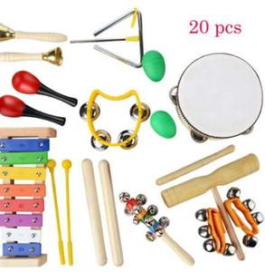 20 PCS Strumenti musicali per bambini Set Musica ritmica Giocattoli educativi Set di fasce per bambini Giocattolo a percussione in legno per bambini con custodia