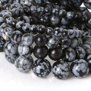 8mm Kar tanesi Obsidian Gevşek Boncuk Yuvarlak 4 6 8 10mm Doğal Taş Boncuk DIY boncuk bilezik kolye Yüksek Kalite Yapımı Takı için
