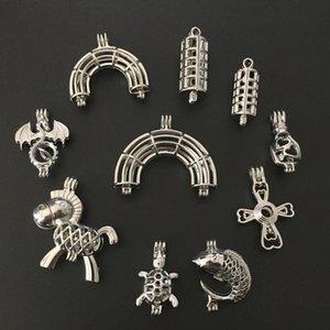 Karışık 10 adet Gümüş Ejderha / Çapraz / Uçucu Yağ Için Gökkuşağı İnci Boncuk Kafes Kolye Madalyon Difüzör Kolye Takı Yapımı hediye