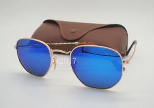 1 Pair Óculos de Sol Das Mulheres Dos Homens de Metal Hexagonal Irregular Personalidade Irregular Óculos de Sol Moldura de Ouro Azul Espelho Lentes De Vidro 51 MM Com Caso Marrom