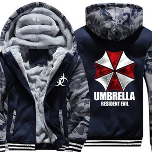 Resident Evil Umbrella corporation LOGO Print Hombres Hoodies 2018 Nuevo Hombre Thicken Fleece Zipper Army Camuflaje Sudaderas Escudo