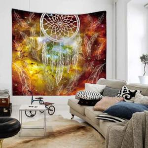 Owl Dream Catcher avec plumes Tapisserie Bohemia Wall Carpet Microfibre Soft Life Feuille de mur 150x130cm Tenture murale