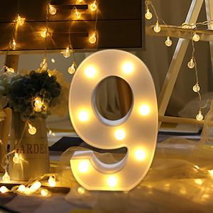 친환경 번호 디지털 문자 Led 빛 화이트 라이트 업 장식 기호 실내 벽 장식 웨딩 파티 창 디스플레이 빛
