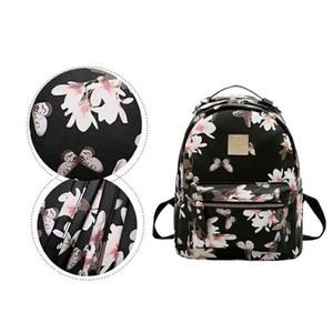 Pelle Donna Zaino fiore floreale zaini per adolescenti femmine piccola tipografia Zaino femminili Schoolbag Zaini Per Ragazze
