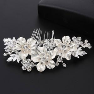 Kadınlar için altın Rhinestone Kristal Kabuk çiçekler inci saç combs Trendy Gelin Saç Aksesuarları Düğün saç tarak süslemeleri