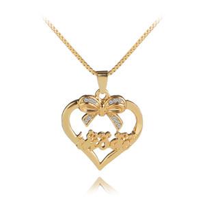 """Personalisierte Schmuck Mutter Halskette """"Love You Mom"""" Hand gestempelt Charme Herz mit Crystal Bow-Knoten Anhänger Halskette Muttertag Geschenk"""