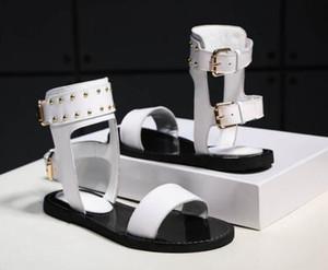 Новые женщины Номад сандалии черное золото Гладиатор плоские туфли