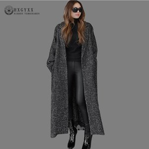 2018 X-long Antumn Winter Herringbone Casual Open Stitch Pockets Loose Wool Jacket Plus Size Cashmere Coat Woman Overcoat Okd585