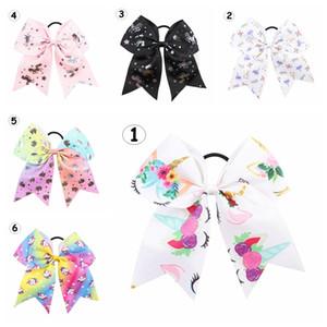 8 pulgadas chica unicornio Hairbands niños de dibujos animados de colores de impresión grandes arcos del pelo de la cola de caballo Accesorios para el cabello 6colors eligen