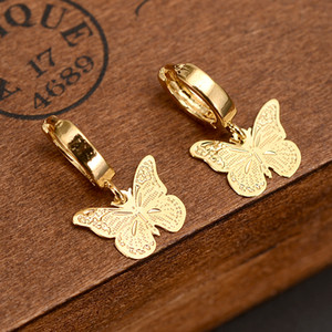 Solid Fine Yellow gold G F Luxury Butterfly Charm Earring Fashion Gold Women Girl Jewelry Gift pretty