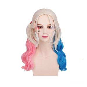 2020 Боб Марли волос для женщин долгое синтетические парики Хэллоуин Тушь Хэллоуин парик партии волос Косплей парики девушки HrleyQuin ни один парик шнурка