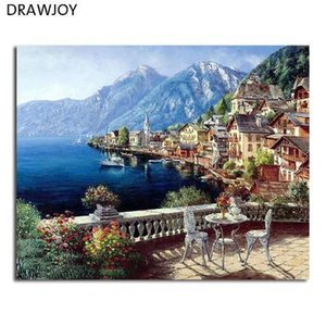 Drawjoy seascape çerçeveli diy boyama by numbers ev dekor oturma odası için diy dijital tuval yağlıboya gx4790 40 * 50 cm