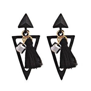 Monili di modo acrilico testa a testa triangolare anello collegato etnici alla moda stile nappe orecchini per le donne Chistmas regalo di compleanno