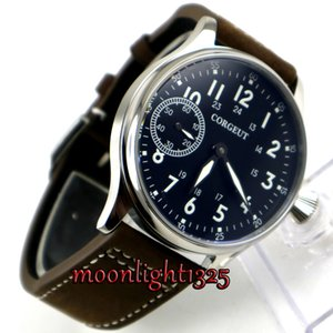 45mm corgeut black dial luminosa marcas de vidro de safira 6497 mão enrolamento mens watch