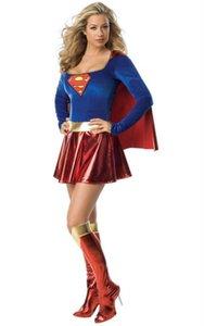Costumes Costumes GirlsHalloween Botas Supergirl Super Fantasia Cosplay Sexy Vestido com Mulher Roupa Edeph