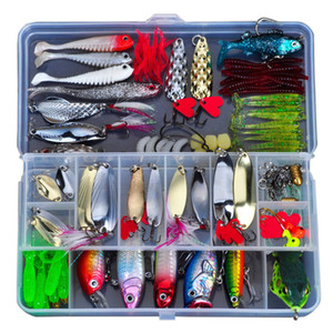 Richiamo di plastica Kit da pesca Metallo Esca Soft Bait Wobbler Frog Lure Spoon Metal Tackle Hard Bait Pinze Attrezzatura da pesca