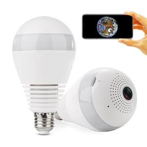 لمبة الضوء Wifi Mini Panoramic Wireless IP Camera HD 1.3MP 2.0MP 360 درجة بانورامية FishEye كاميرا أمن الوطن كاميرا CCTV