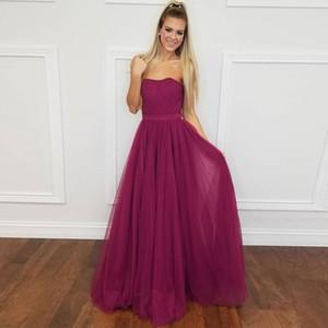 Strapless Burgundy Red Long Prom Dresses Sequins Tulle Ribbon Sash Floor Length Backless Evening Gowns Formal Dresses Zipper Up