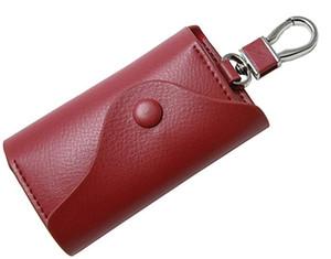 Wholesale Leather Key Case Wallets Unisex Keychain Key Holder Ring with 6 Hooks Snap Closure