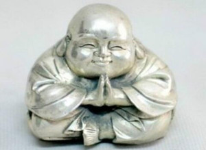 Metal Crafts Old Tibet Silver Sitting Laughing Buddha Statue fast SHIPPING