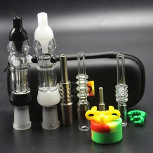 Factory Silicone DAB pailles colorées Ego Bongs 10mm 14mm Trousse de quartz réel Kit JAR Nails Titanium NC Case en cuir Verre GR2 EHSPD