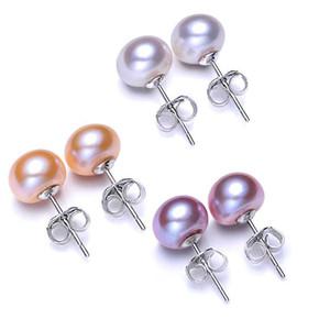 Commercio all'ingrosso di vendita calda 3 colori 6-9mm 100% 925 Silver Pearl naturale del chiodo dell'orecchio semplice classica perla gioielli di moda per le donne