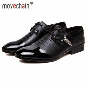 Movechain Sıcak Satmak erkek elbise ofis ayakkabı mens moda sivri burun Pu deri Iş Flats Adam Casual Oxfords Dantel-Up ayakkabı