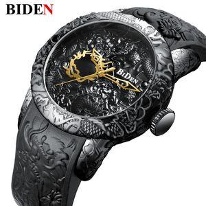 Neue Art und Weise 3D-Skulptur Drachen Männer Quarz-Uhren Marke BIDEN Golduhr Männer Exquisite Relief kreativer Taktgeber Relogio