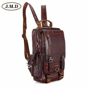 JMD загорелые кожаные мужские Многофункциональный рюкзак для студенческой школы девушки рюкзаки 2002C