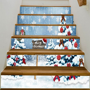 Merry Christmas steps stickers snow scene Christmas Snowman Stairs Stickers Removable Waterproof christmas tree Wallpaper Stickers decals