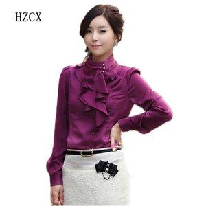 HZCX 2016 mujer de negocios nueva manga de hojaldre camisas de trabajo formal moda profesional volantes delgado floral gasa blusa femenina camisa
