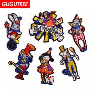 GUGUTREE ein satz stickerei clown patches cartoon patches abzeichen applique patches für kleidung SP-27