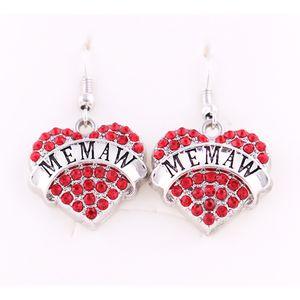 Special Design Fashion Heart Shape Crystal Message MEMAW Charm Pendants Earrings DIY Accessories For Women Jewelry