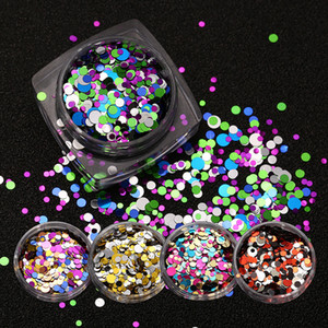 Hot Popular Nail Art Nail Patch Metal Mix Colorido Lentejuelas redondas Nail Glitter Stickers Maquillaje Belleza Regalos