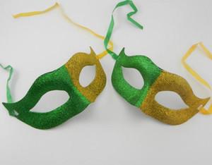 Fãs Carnaval Glitter Máscara Bola Engraçado Fancy Dress Stage Do Divertido Coringa Dos Homens Das Mulheres Metade Máscaras de Rosto adereços partido amarelo verde fornecimento evento festivo