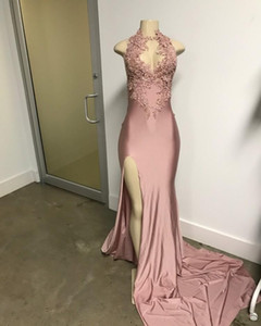 2017 Sexy élégante fille noire sirène africaine de bal robes de soirée robes de dentelle d'or appliques robe de bal sirène