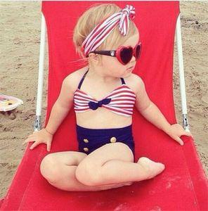 Neonate stile coreano Bikini per bambini ragazza Swimwear bambino costume da bagno Ruffle Bow vita alta Principessa tre pezzi Swim carino costume da bagno 3pcs set