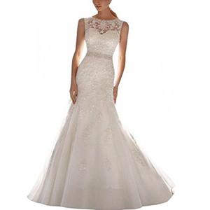 El último vestido de boda de la sirena apliques de encaje sin mangas vestido de novia vestido de cuello redondo de encaje con el tren de la corte Vestidos de novia