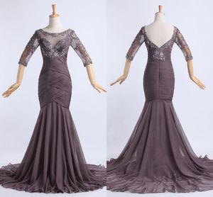 2018 In Stock Long Chiffon Prom Evening Gowns Mermaid 3 4 Long Sleeves Sweep Train Pleats Beads Vestido De Festa