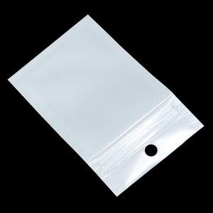 100Pcs / Lot di plastica libera Zipper Bianco Poly confezione Borse Accessori elettronici bagagli Sacchetti del foro di caduta per vario Packaging Storage Bag