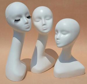 Brillant Blanc Mannequins Femelles Tete Long Cou Modele Tete De Cheveux Displayer Pour Perruque Chapeau Echarpe Sans Maquillage