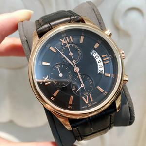Все Subdials Работа Горячих продаж Мода Случайного человека часы черные кожаные коричневых часы мужские наручные часы марка женских движение Япония кварц
