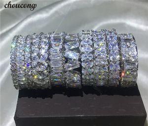 Choucong 9 estilos eterno anillo de dedo 5A circón Cz 925 plata esterlina anillo de bodas de compromiso anillos para mujeres hombres bijoux regalo Y1891908