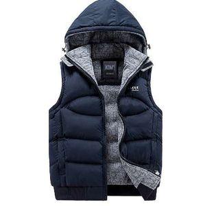New Mens Jacket Sleeveless veste homme Winter Fashion Casual Cappotti uomo con cappuccio in cotone imbottito Gilet da uomo uomini gilet ispessimento