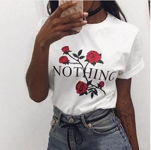 Nichts Brief Drucken T Shirt Rose Harajuku T-Shirt Frauen 2019 Sommer Casual Kurzarm T-Shirt Weiß Grau Punk Shirts
