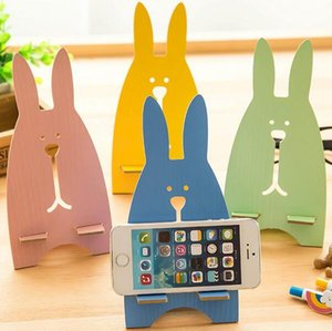 Cute Cartoon Rabbit Wooden Universal Phone Holder Stand Cell Phone Mount Holder For IPhone For Samsung Smartphone